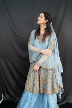 SKY BLUE DESIGNER BRIDAL SHARARA