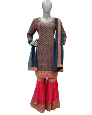 Rama blue blouse with Pink Designer Sharara