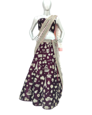 WINE COLOR DESIGNER LEHENGA