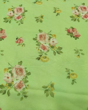 Light green organza print with work