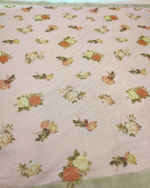 PINK ORGANZA FABRIC WITH PRINT
