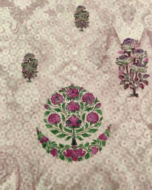LAVENDER COTTON FABRIC WITH PRINT
