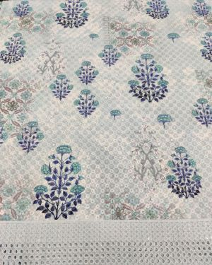 SKY BLUE COTTON FABRIC WITH PRINT