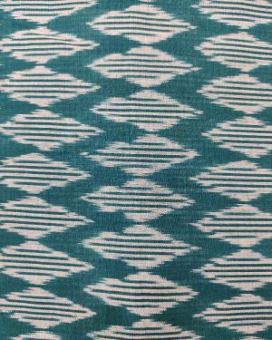 GREEN COTTON FABRIC WITH IKKAT PRINT