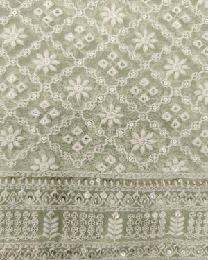 PISTA GREEN LUCKNOWI FABRIC