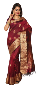 KANCHIPURAM HALF BLENDED MAROON SILK SAREE