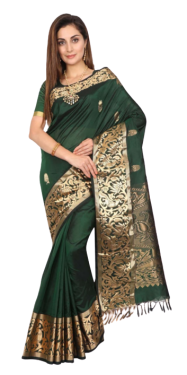 KANCHIPURAM HALF BLENDED BOTTLE GREEN SILK SAREE CLASSIC