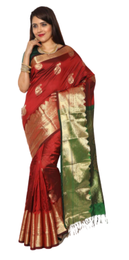 KANCHIPURAM HALF BLENDED RED WITH GREEN SILK SAREE