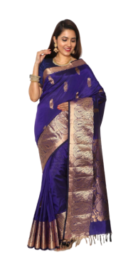 KANCHIPURAM HALF BLENDED BLUE SILK SAREE