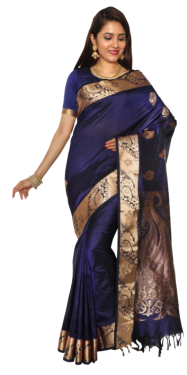 KANCHIPURAM HALF BLENDED NAVY BLUE SILK SAREE CLASSIC