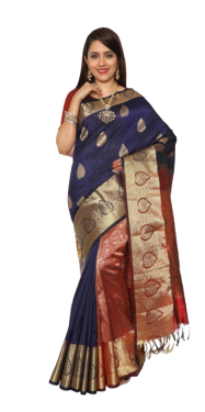 KANCHIPURAM HALF BLENDED NAVY BLUE SILK SAREE