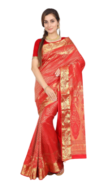 KANCHIPURAM HALF BLENDED CHERRY RED SILK SAREE