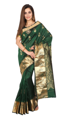 KANCHIPURAM HALF BLENDED BOTTLE GREEN SILK SAREE CLASSIC DESIGNER