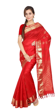 KANCHIPURAM HALF BLENDED RED SILK SAREE CLASSIC