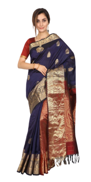 KANCHIPURAM HALF BLENDED NAVY BLUE WITH MAROON SILK SAREE
